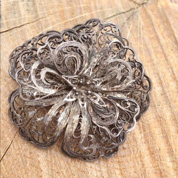 a4e3ff314e2 Jewelry | Vintage Silver Filigree Flower Schoen Metal Pin | Poshmark